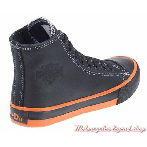 Baskets Nathan homme, à lacets, croute de cuir, noir, Harley-Davidson D93816
