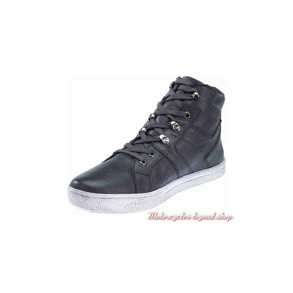 Baskets cuir Drakeswood Black Label homme, gris, patiné, à lacets, semelle blanche, Harley-Davidson D99905