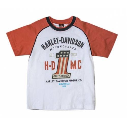 Tee-shirt H-DMC garçon, coton, manches courtes raglan, blanc, orange, One US, Harley-Davidson