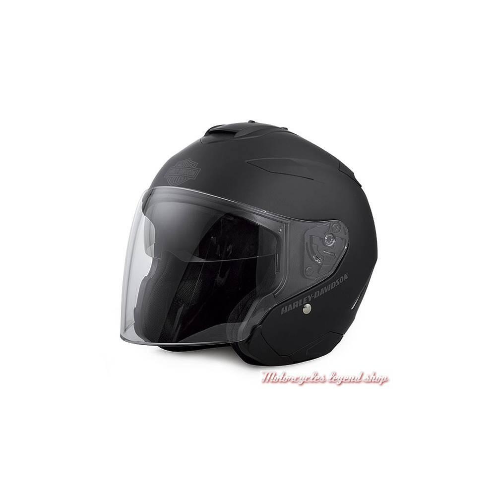 Casque jet Maywood noir mat, mixte, polycarbonate, système ventilation, HJC, Harley-Davidson 98347-17EX