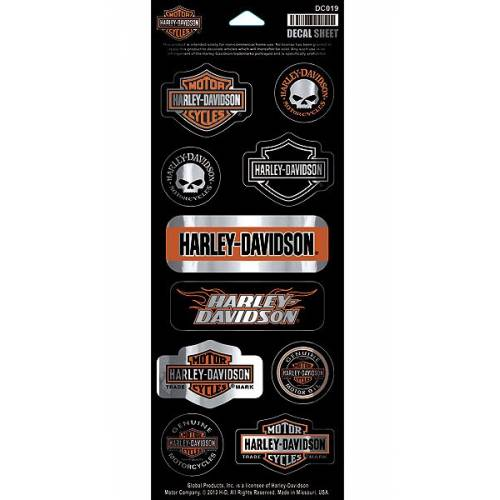 10 Stickers Chrome Invasion, H-D, Bar & Shield, Willie G., Harley-Davidson DC019
