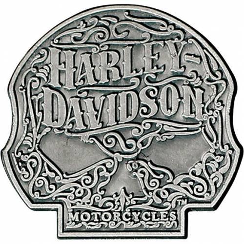 Pin's Ornate Skull, argenté antique, Harley-Davidson P146205