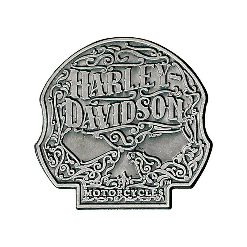 Pin's Ornate Skull, argenté antique, Harley-Davidson P146205