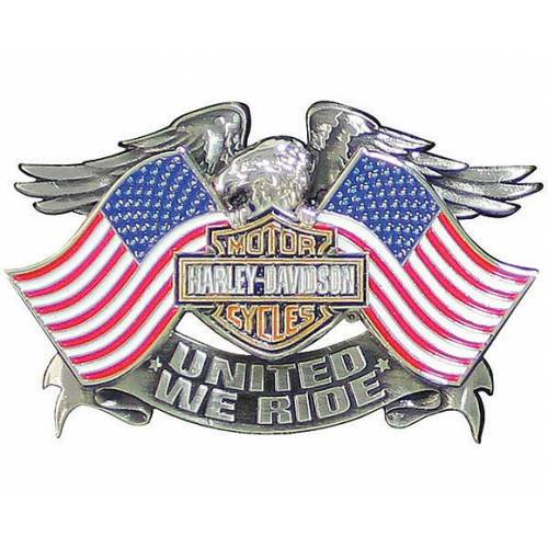 Pin's United We Ride, argenté antique, aigle, drapeaux US, Harley-Davidson P125844