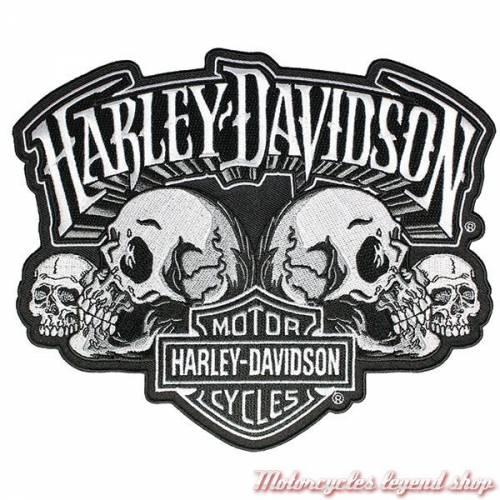 Patch Skull Text, brodé, noir, gris, Harley-Davidson EM169884