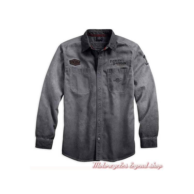 Chemise Iron Block Harley-Davidson, homme, manches longues, gris délavé sale, coton, 99020-17VM