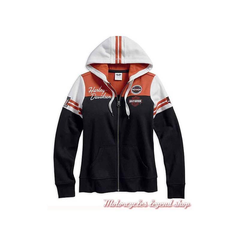 Sweatshirt Classic Harley-Davidson, femme, zippé, capuche, noir, orange, écru, coton, polyester, 99125-17VW