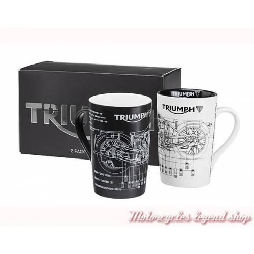 Pack 2 mug Triumph, fiche technique, noir & blanc, MMUA16322