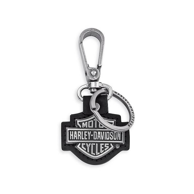 Porte clés Bar   Shield, cuir et finition vieil argent, Harley-Davidson  99444 c2b07929872