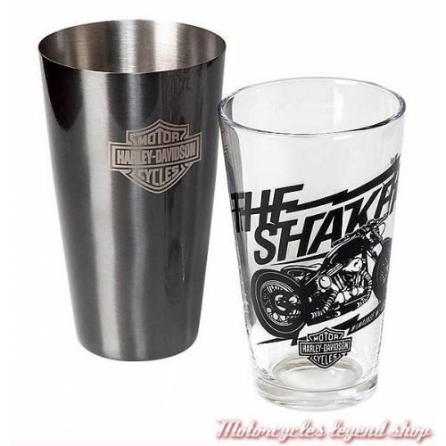 Ensemble shaker Boston Harley-Davidson, timbale acier, verre transparent, HDL-18554