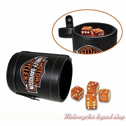 Coffret Jeu de dés Harley-Davidson, gobelet simili cuir noir, 6 dés orange, Bar & Shield, 651