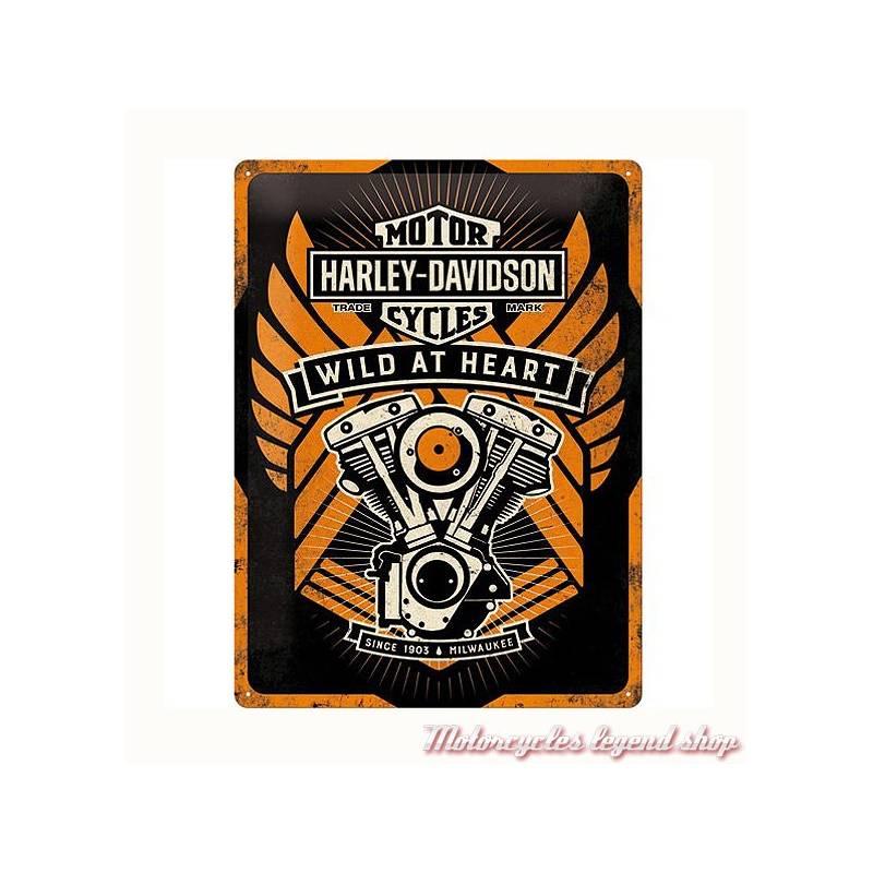 Plaque métal Wild at Heart Harley-Davidson, 30 x 40 cm, rétro, 23222