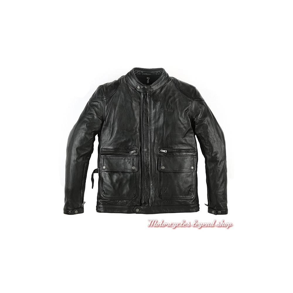 Blouson cuir Patriot Helstons, homme, noir, léger, aspect fripé froissé