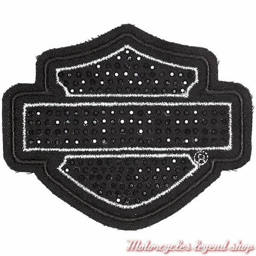 Patch Bar & Shield Strass noir, fil argenté, brodé, Harley-Davidson EM1048301