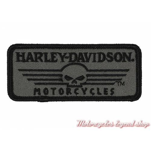 Patch Linear Skull Harley-Davidson, brodé, noir, gris, EM027751