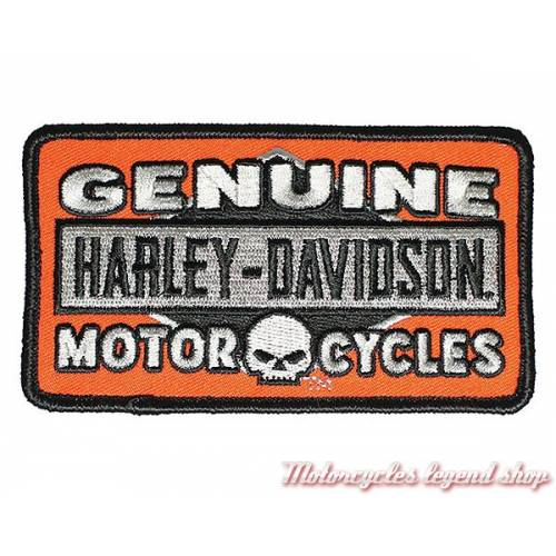Patch Genuine Skull Harley-Davidson, brodé, orange, noir, gris, EM180382