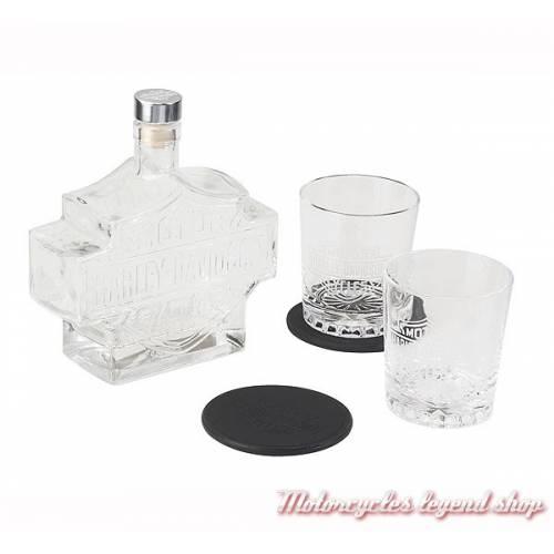 Service à whisky Harley-Davidson, carafe Bar & Shield, 2 verres, verre transparent, dessous de verre cuir, HDL-18746