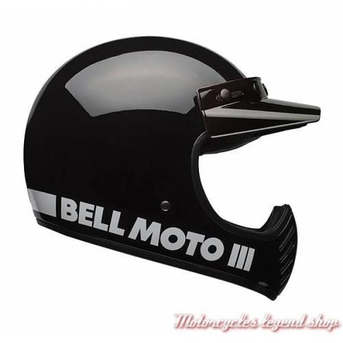 Casque Moto 3 Classic Black Bell, esprit cross vintage, noir brillant, BELL