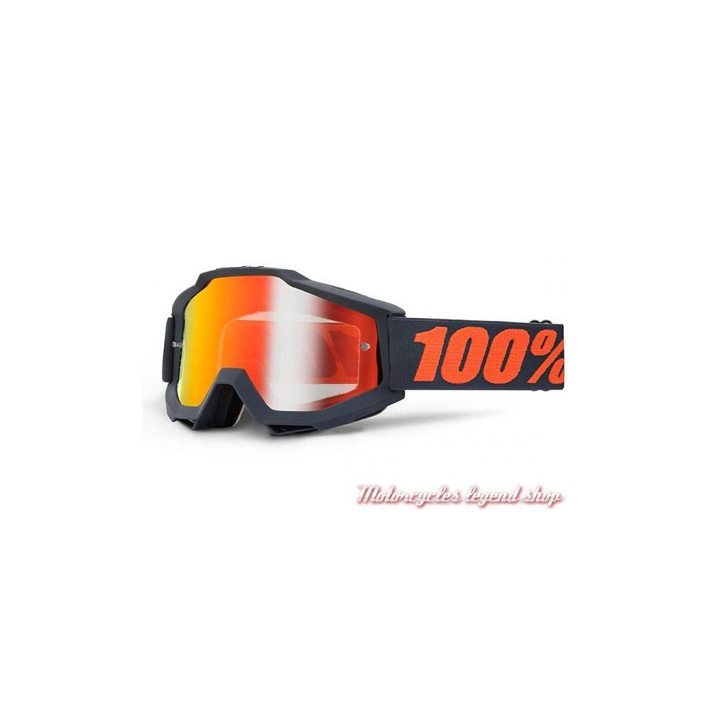 Masque The Accuri Gun Metal 100%, cross, écran iridium Red mirror, noir, orange