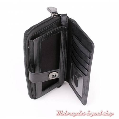 Portefeuille Telephone Bar & Shield Harley-Davidson, cuir noir, HDWTC10938