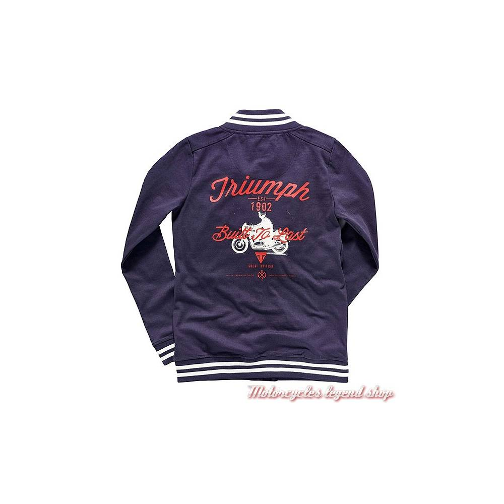 Sweatshirt Cindy Triumph femme, esprit teddy, bleu navy et blanc, zip et pressions, MSWS17026