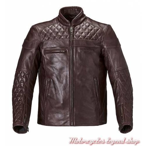 Blouson cuir Andorra Triumph, homme, rouge bordeau, matelassé, vintage, MLHS17109