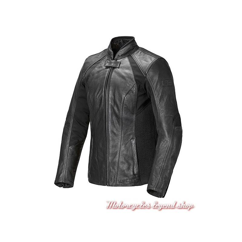 Blouson cuir et textile stretch Cara Triumph femme, noir, MLLC17102
