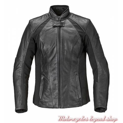 Blouson cuir et textile stretch Cara Triumph femme, noir, face, MLLC17102