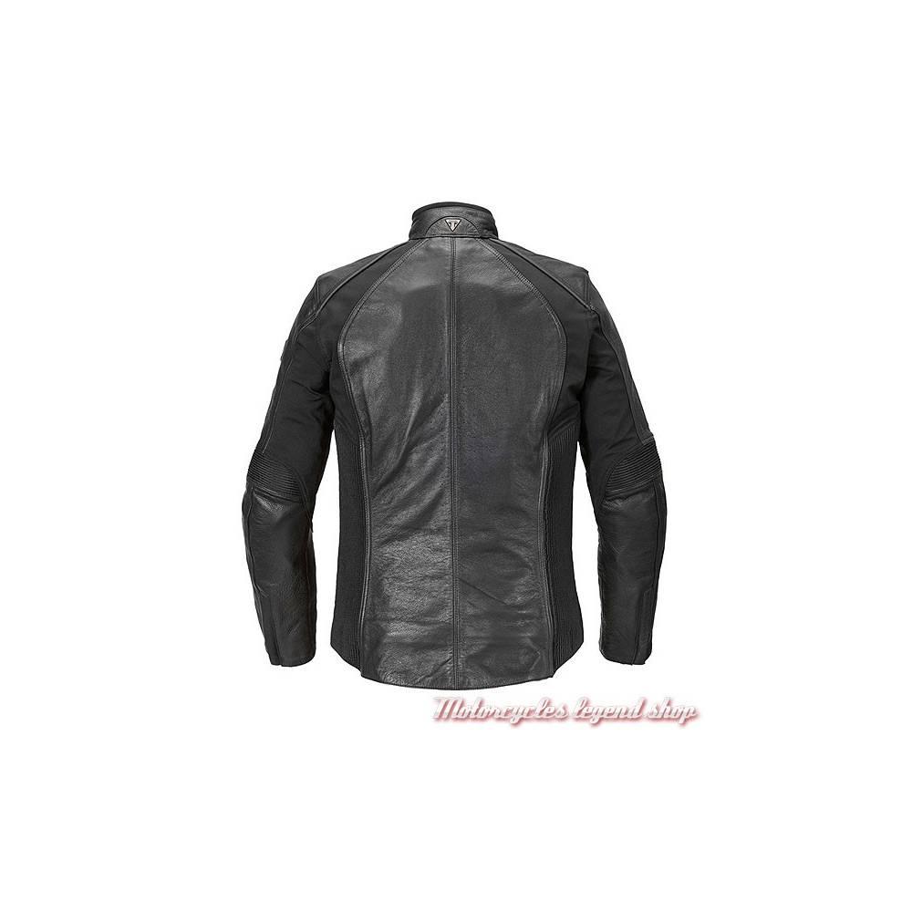 Blouson cuir et textile stretch Cara Triumph femme, noir, dos, MLLC17102
