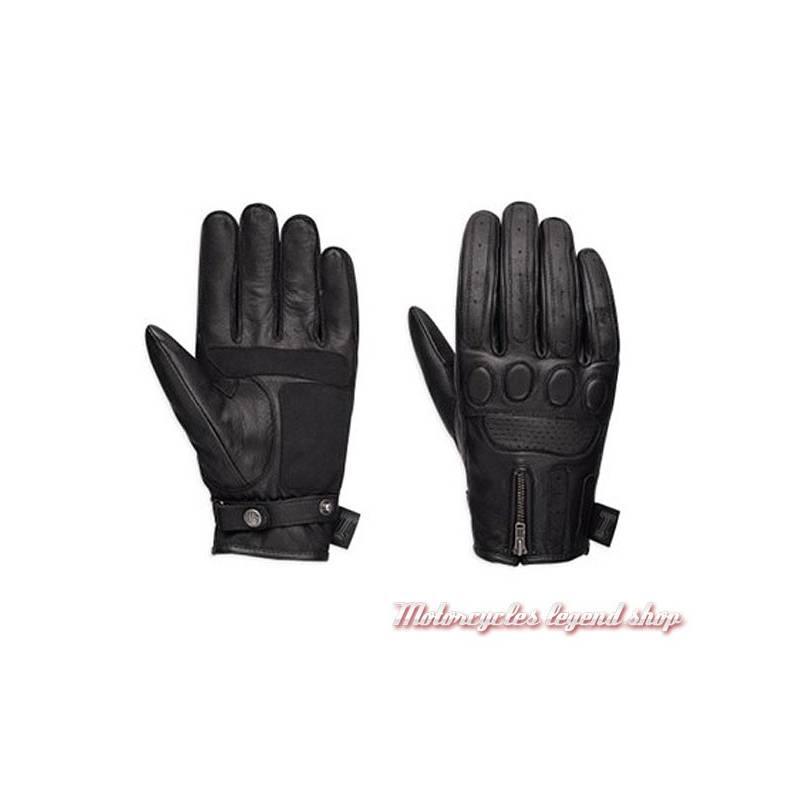 Gants cuir One Skull Harley-Davidson homme, noir, homologués, zip, 98367-17EM