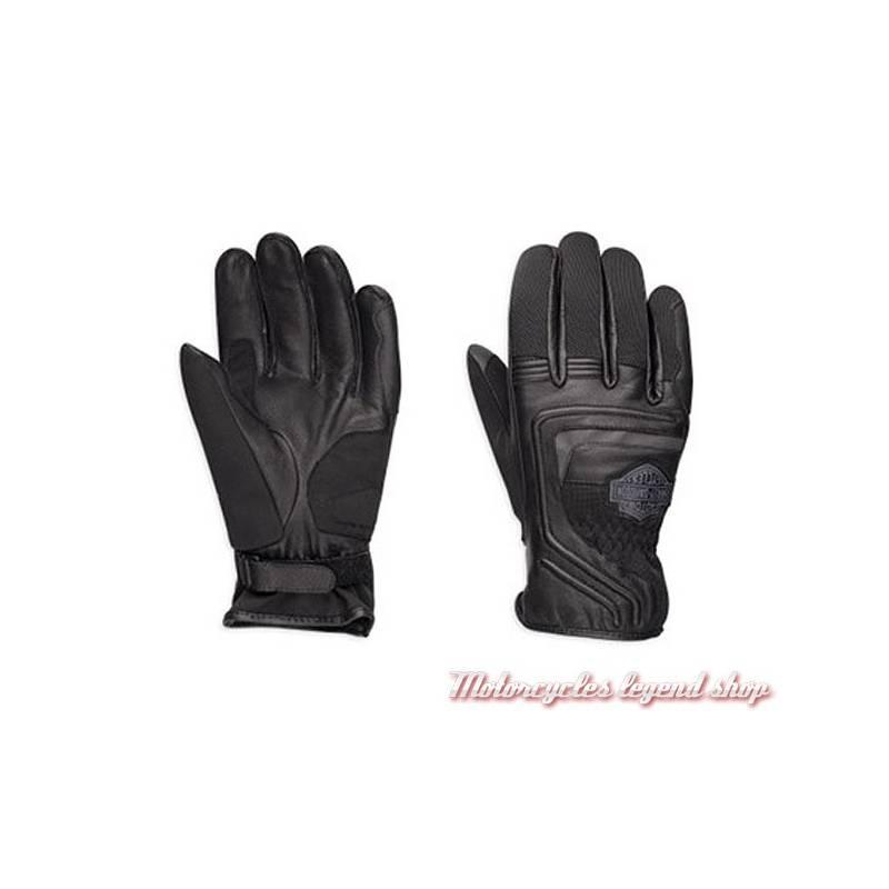 Gants cuir & mesh Harley-Davidson homme, noir, Bar & Shield, 98362-EM