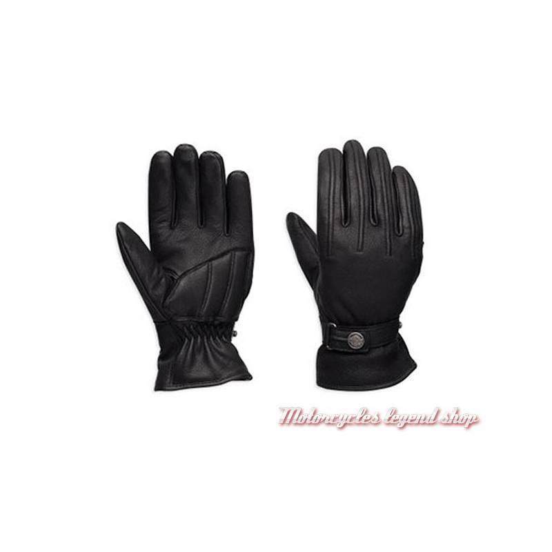 Gants cuir Bliss Harley-Davidson femme, noir, imperméable, homologués, 98370-17EW