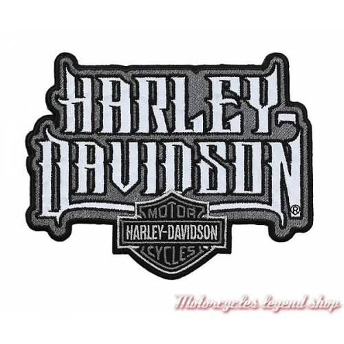 Patch Spiked Text Harley-Davidson, réfléchissant, brodé, noir, gris, EM208752