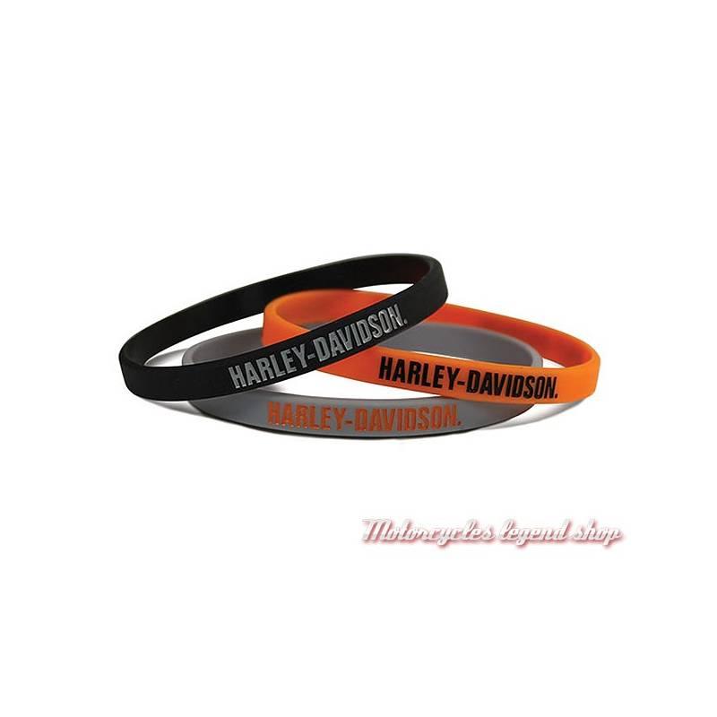3 Bracelets silicone Harley-Davidson, noir, orange, gris, WB51664
