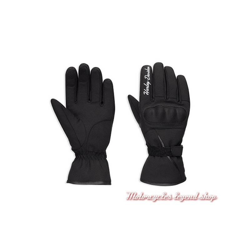Gants textile Legend Harley-Davidson femme, homologués, noir, nylon, imperméable, 98373-17EW