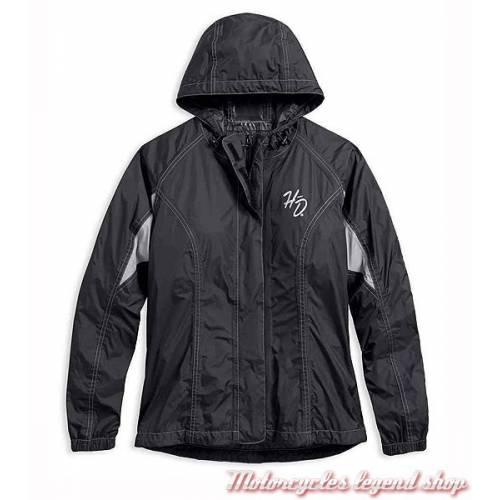 Ensemble de pluie Reflective Harley-Davidson, femme, noir, gris, veste et pantalon, nylon, 98204-17VW