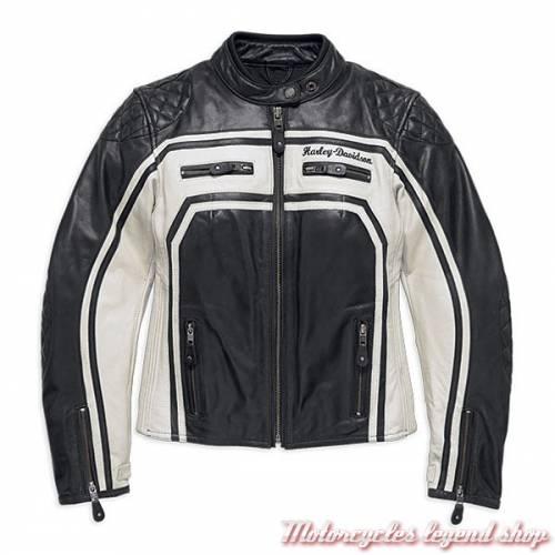 Blouson cuir Relay Harley-Davidson femme, noir, écru, homologué CE, 98130-17EW