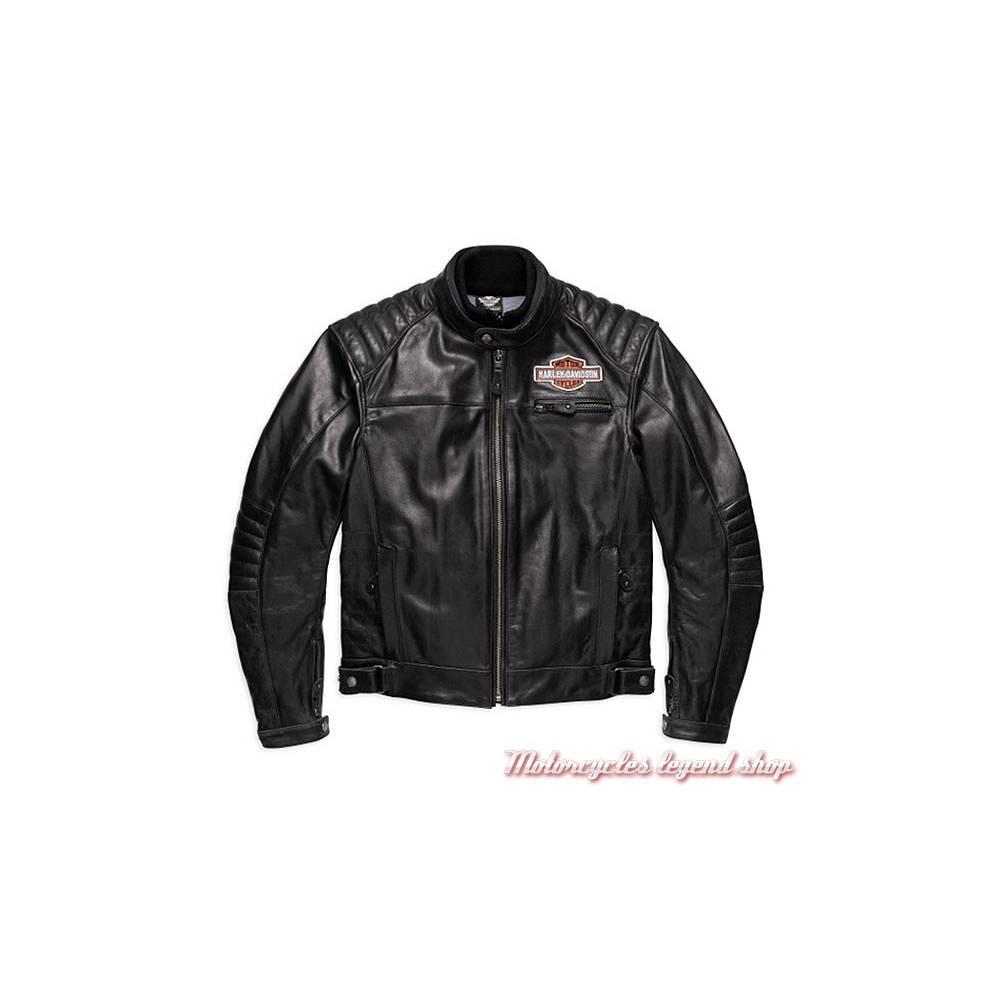 Blouson cuir Legend Harley-Davidson, homme, noir, Bar & Shield, homologué CE, 98125-17EM