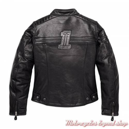 Blouson cuir One Skull Harley-Davidson femme, noir, homologué CE, 98132-17EW