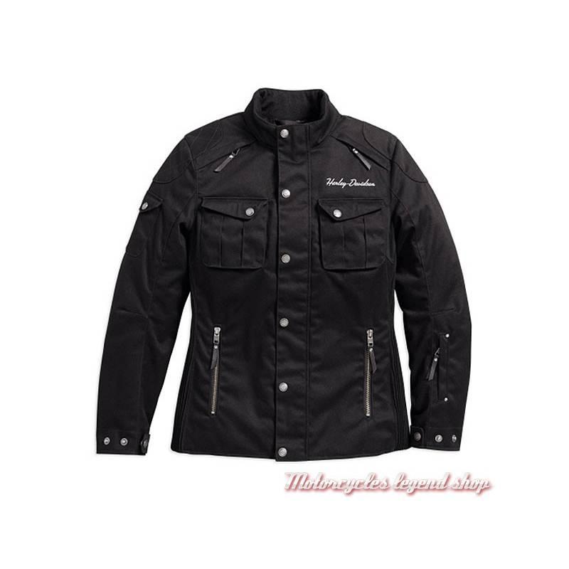Blouson textile 3/4 Messenger Harley-Davidson femme, noir, coton, polyester, homologué, 98171-17EW
