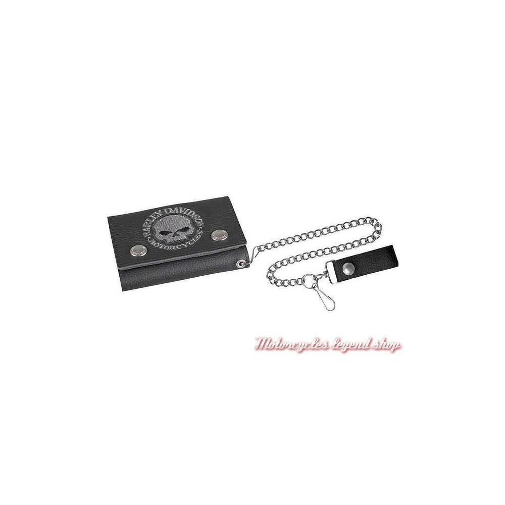 Portefeuille Skull gris Harley-Davidson, cuir noir grainé, chainette, XML6187-GRYBLK