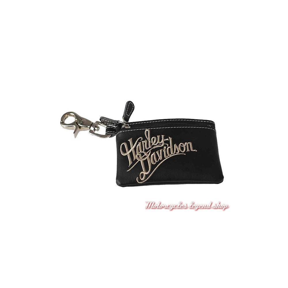 Porte monnaies Harley-Davidson femme, cuir noir, 2 zips, brodé, ZWL3895-CRMBLK