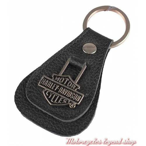 Porte clés cuir Bar & Shield Harley-Davidson, noir, médaillon métal, XFL0027-BLACK