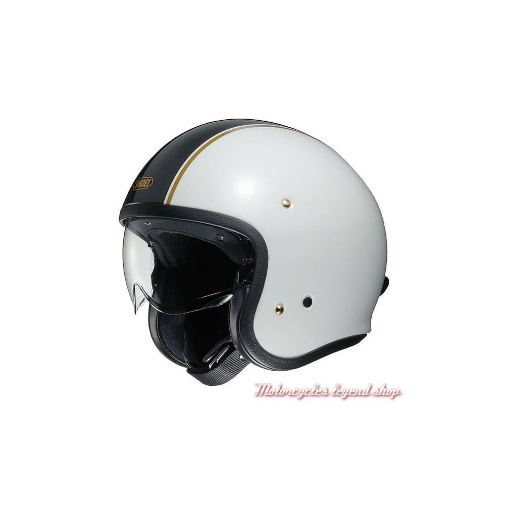 Casque J.O Carburetor Shoei, blanc, bande centrale noire, vintage, Shoei