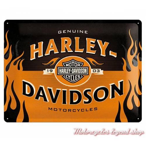 Plaque métal Harley-Davidson flammé, 23231