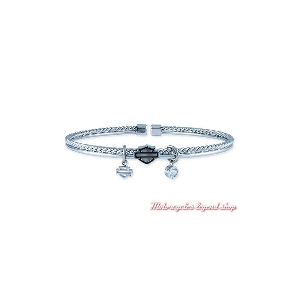 Bracelet Bar & Shield Harley-Davidson femme, maille acier, Harley-Davidson HSB0135