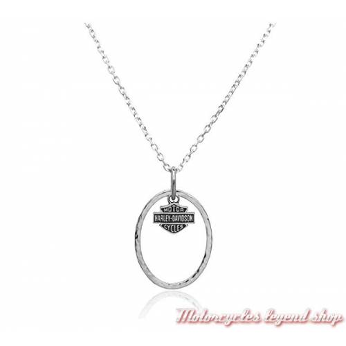 Collier argent Bar & Shield Oval Harley-Davidson femme, 925 silver, HDN0228