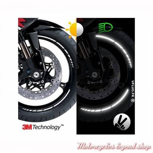 Bandes réfléchissantes jantes moto GP Design, noir, 3M, largeur 7 mm, VFLUO