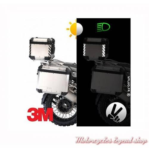 4 Stickers chevrons réfléchissants Top-Case, noir, 3M, VFLUO