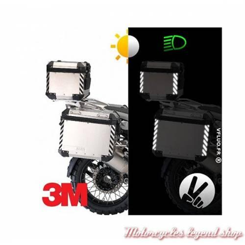 8 Stickers chevrons réfléchissants Top-Case et Valises, noir, 3M, VFLUO